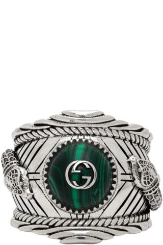 Silver & Green Gucci Garden Ring