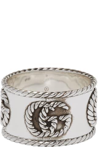구찌 더블 G 마몬트 체인 링 Gucci Silver Double G Marmont Chain Ring