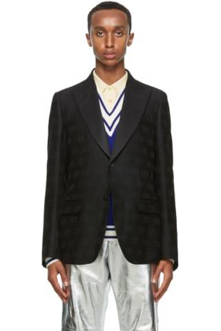 Gucci Black Wool GG Heritage Blazer