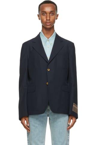 Gucci Navy Mohair & Wool Gauze Blazer