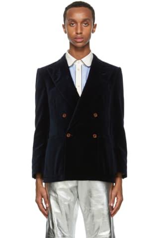 Gucci Navy Velvet Blazer