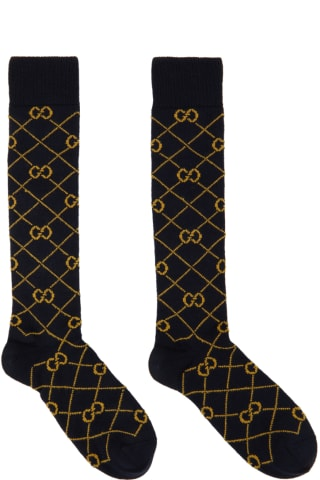 Gucci Navy & Yellow GG Socks