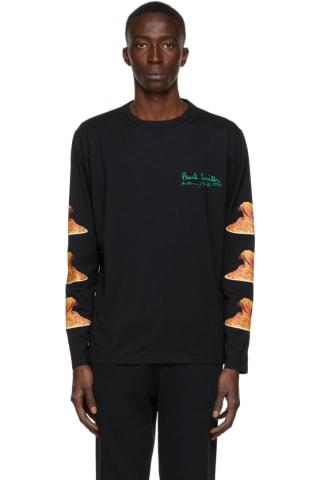 [폴 스미스 50주년] 스파게티 긴팔티셔츠 Paul Smith 50th Anniversary Black Spaghetti Long Sleeve T-Shirt,Black