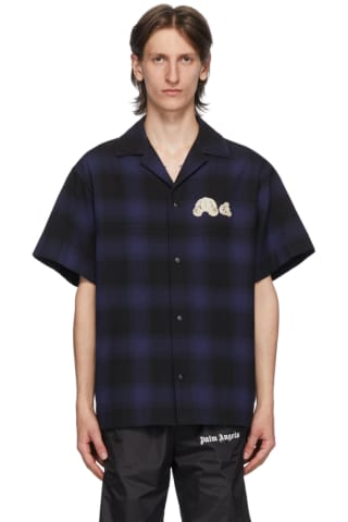 Palm Angels Blue & Black Check Bear Bowling Shirt