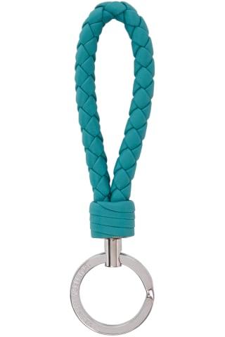 보테가 베네타 열쇠고리 (선물 추천) Bottega Veneta Blue Intrecciato Loop Keychain,Linoleum