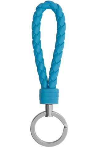 보테가 베네타 열쇠고리 (선물 추천) Bottega Veneta Blue Intrecciato Loop Keychain,Swimming pool