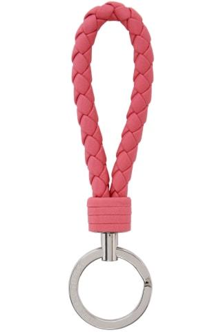 보테가 베네타 열쇠고리 (선물 추천) Bottega Veneta Pink Intrecciato Loop Keychain