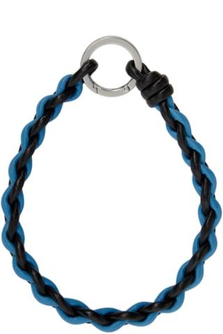 보테가 베네타 Bottega Veneta Black & Blue Woven Leather Keychain,Black/Swimming pool