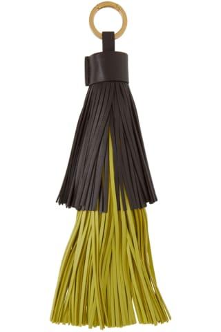 보테가 베네타 열쇠고리 (선물 추천) Bottega Veneta Brown & Green Fringe Keychain,Fondant/Kiwi