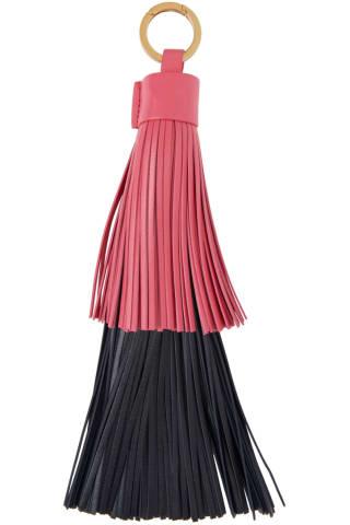 보테가 베네타 열쇠고리 (선물 추천) Bottega Veneta Navy & Pink Fringe Keychain,Lollipop/Midnight blue