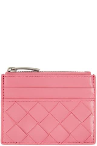 보테가 베네타 Bottega Veneta Pink Top Zip Card Case