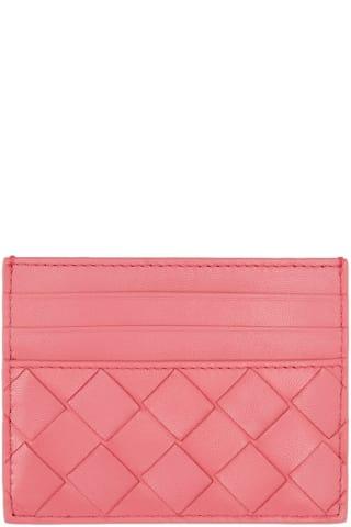 보테가 베네타 Bottega Veneta Pink Intrecciato Card Holder