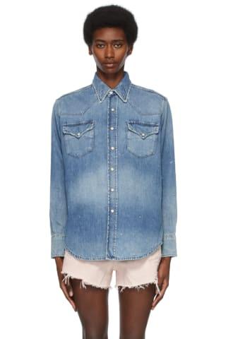 R13 Blue Freddie Cowboy Shirt