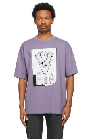 아크네 스튜디오 맨 그래픽 티셔츠 - 더스티 퍼플 ('바라던 바다' 이동욱 착용) Acne Studios Purple Graphic T-Shirt