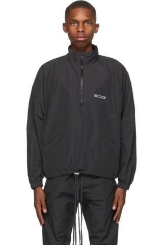피어오브갓 에센셜 트랙 자켓 (20210115 드랍 캘리포니아 윈터) Essentials Black Half-Zip Track Jacket