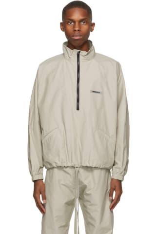 피어오브갓 에센셜 트랙 자켓 (20210115 드랍 캘리포니아 윈터) Essentials Beige Half-Zip Track Jacket,Olive