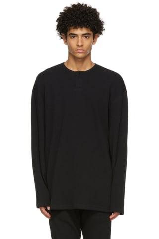 피어오브갓 에센셜 헨리 긴팔 티셔츠 - 블랙 Essentials Black Thermal Henley