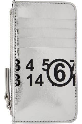 MM6 메종 마르지엘라 Maison Margiela Silver Faux-Leather Small Card Holder