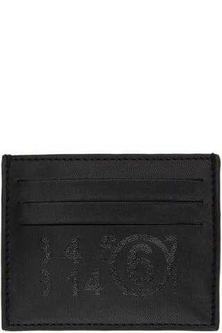 MM6 메종 마르지엘라 Maison Margiela Black Faux-Leather Logo Card Holder