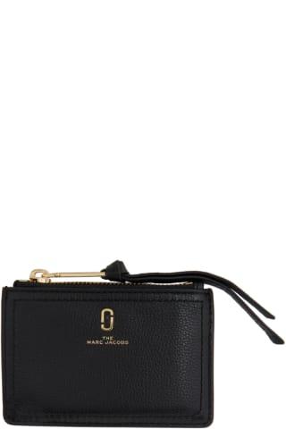 마크 제이콥스 Marc Jacobs Black The Softshot Top Zip Card Holder