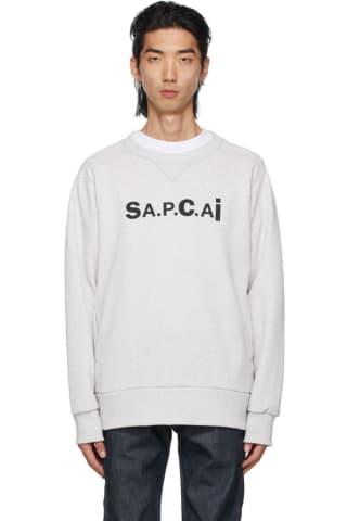 아페쎄 옴므 맨투맨 A.P.C. Grey Sacai Edition Tani Sweatshirt,Pale heather grey
