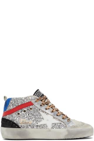 골든구스 Golden Goose Silver Glitter Mid Star Sneakers,Silver glitter