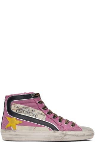 골든구스 Golden Goose Pink Canvas Classic Slide Sneakers,Neon pink/Ice/Black