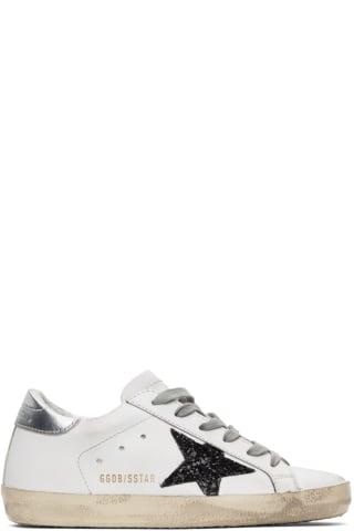 골든구스 Golden Goose   White & Black Glitter Superstar Sneakers