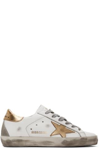 골든구스 Golden Goose White & Gold Superstar Sneakers,White/Gold
