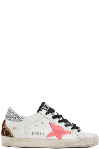 골든구스 Golden Goose White & Pink Super-Star Sneakers
