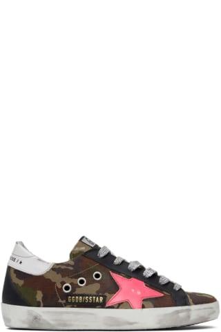 골든구스 Golden Goose Green & Pink Camo Superstar Sneakers