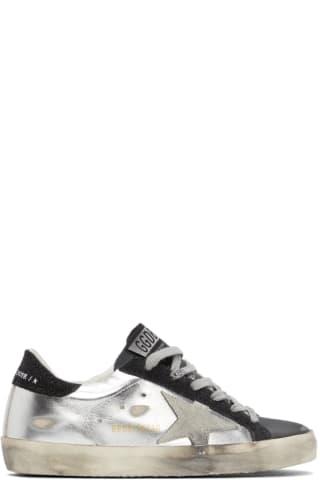 골든구스 Golden Goose Silver & Black Super-Star Sneakers,Silver/Black