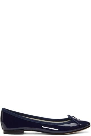 레페토 Repetto Blue Patent Cendrillon Ballerina Flats,Navy