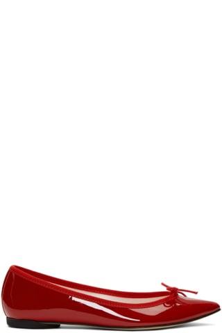 레페토 Repetto Red Patent Brigitte Ballerina Flats,Flamme