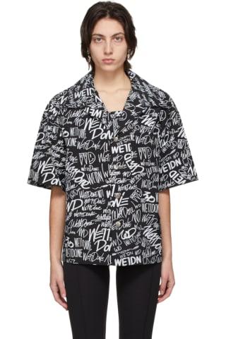 We11done Black Allover Logo Short Sleeve Shirt