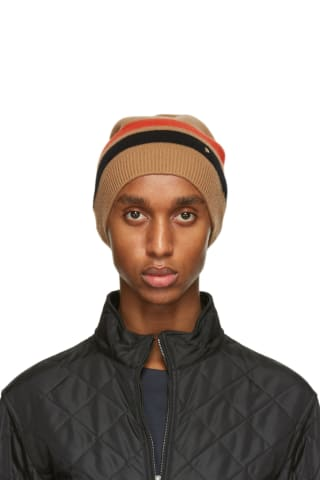 Burberry Brown Merino Wool Stripe Beanie