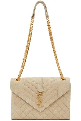 생 로랑 Saint Laurent Beige Suede Medium Envelope Bag