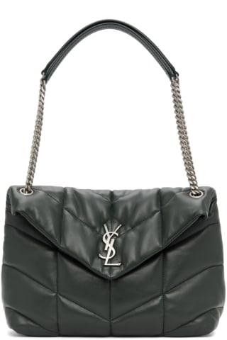 생 로랑 Saint Laurent Green Medium Loulou Puffer Bag,Dark green