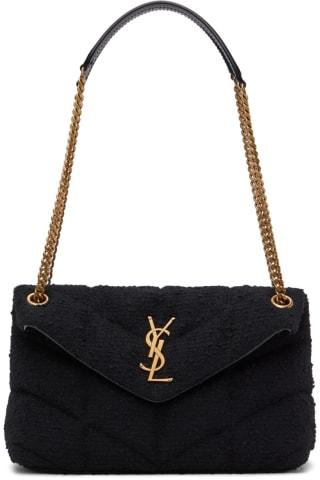 생 로랑 Saint Laurent Black Tweed Small LouLou Puffer Bag