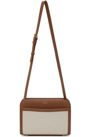 생 로랑 Saint Laurent Off-White & Brown Linen Reversed Camera Bag,Raw/Brown