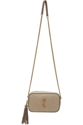 생 로랑 Saint Laurent Beige & Taupe Canvas Mini Lou Bag,Light natural/Taupe