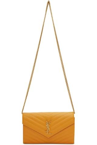 생 로랑 Saint Laurent Yellow Monogramme Chain Wallet Bag,Senape yellow