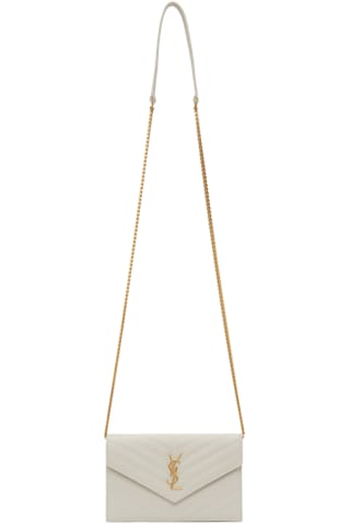 생 로랑 Saint Laurent Off-White Monogramme Envelope Chain Wallet Bag