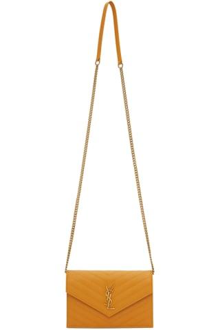 생 로랑 Saint Laurent Yellow Monogramme Envelope Chain Wallet Bag,Senape yellow