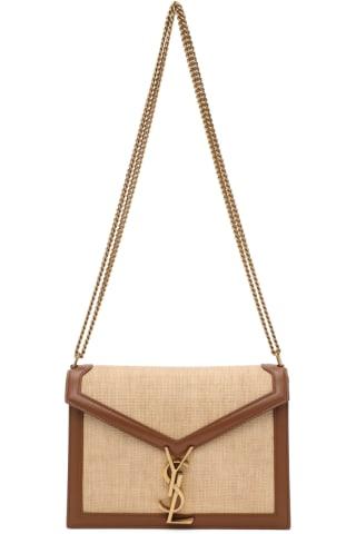 생 로랑 Saint Laurent Beige & Brown Medium Raffia Cassandra Clasp Bag,Natural/Brick