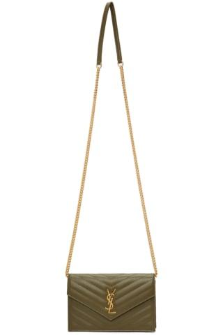 생 로랑 Saint Laurent Khaki Monogramme Envelope Chain Wallet Bag
