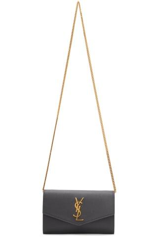 생 로랑 Saint Laurent Grey Uptown Chain Wallet Bag,Storm