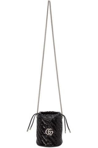 구찌 Gucci Black Mini Sequin GG Marmont Bucket Bag