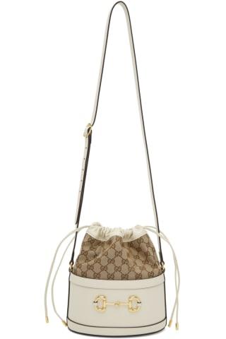 White Gucci 1955 Horsebit Bucket Bag