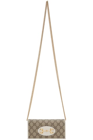 White 구찌 Gucci 1955 GG Supreme Horsebit Chain Wallet Bag,Brown/Ebony